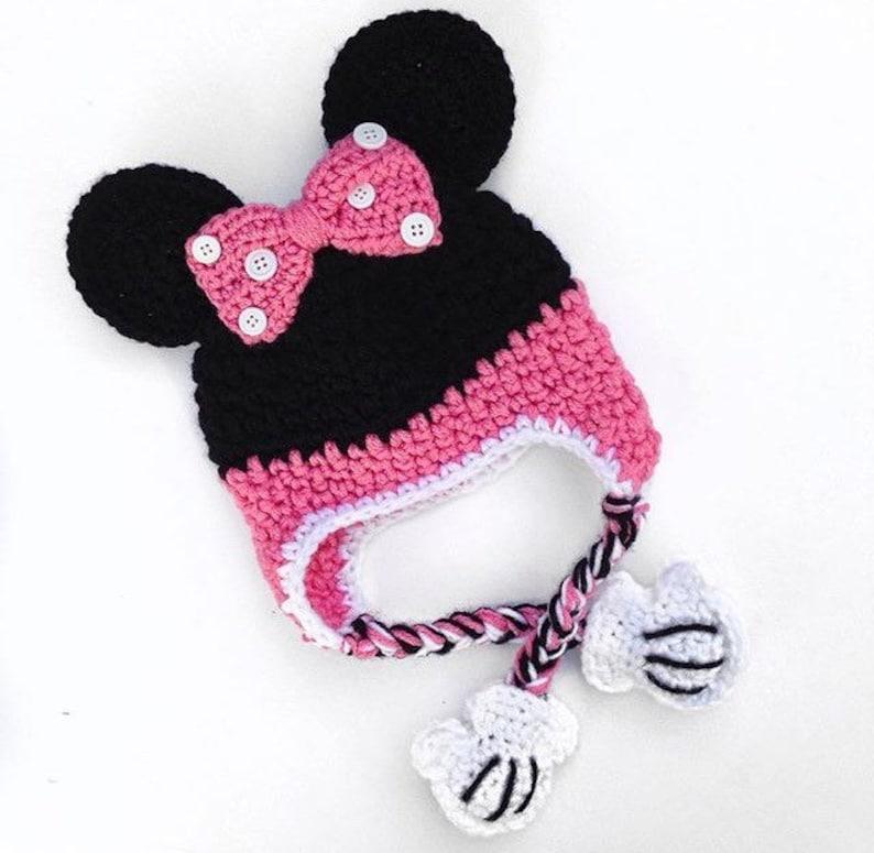 7-10 years 1-2 NEW Minnie Mouse Girls Winter Knit Hat Pom Pom Beanie Hat 3-6