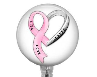 Badge Reel, Live Laugh Love ID Badge Holder Retractable Badge Reels Breast Cancer Awareness Badges Pink Ribbon Breast Cancer Support