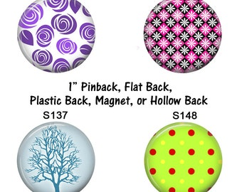 """1"""" Magnetic Jewelry Inserts Purple Pink Blue Green Magnets Pinback Flair Pins Flat Back Buttons for Hair Bow Badge Reel, Scrapbooking Crafts"""