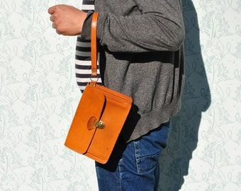 Leather wristlet, mens leather wristlet, small leather wristlet, brown leather wristlet, orange leather wristlet, brown leather bag