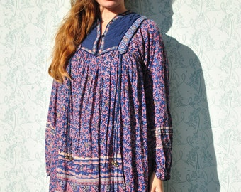 Indian dress, Indian gauze dress, vintage 70s Indian dress, boho maxi dress, festival dress, hippie dress