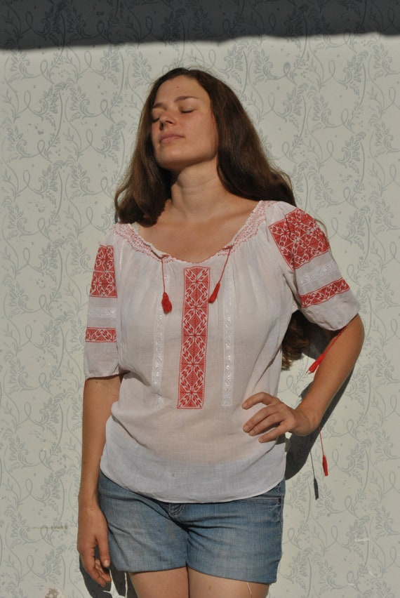 Embroidered blouse, peasant blouse, boho folk embr