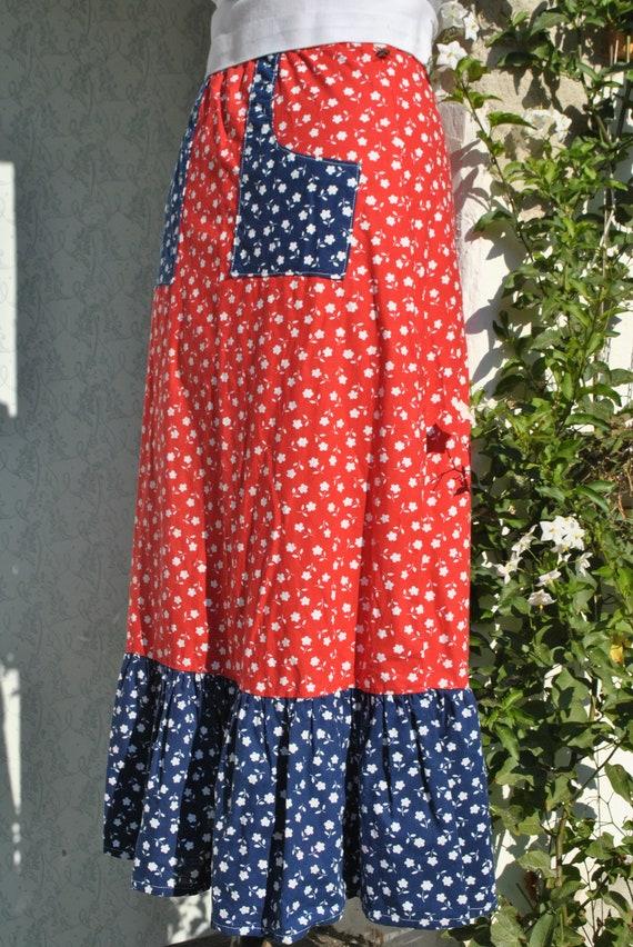 Cottagecore skirt, vintage 70s praerie cotton ski… - image 7