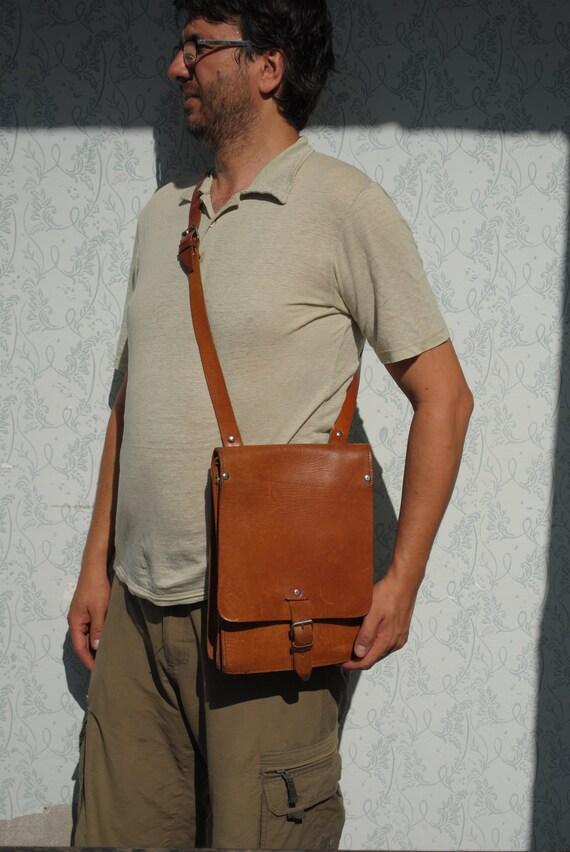 Leather messenger bag men, messenger mens bag Yugo