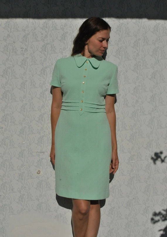 Dress vintage 60s, mint green dress, mod dress, mi