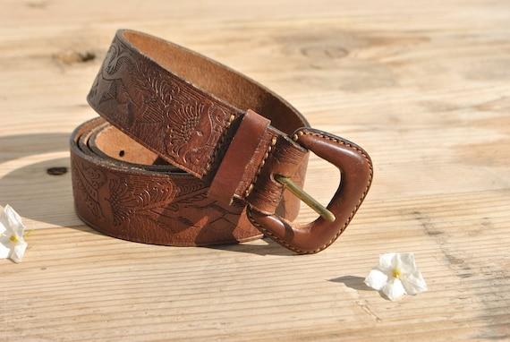 Tooled leather belt, vintage leather belt with lea