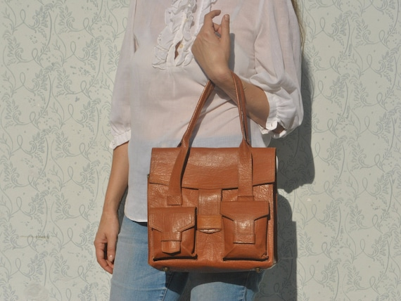 Vintage leather handbag, 70s leather handbag, hand