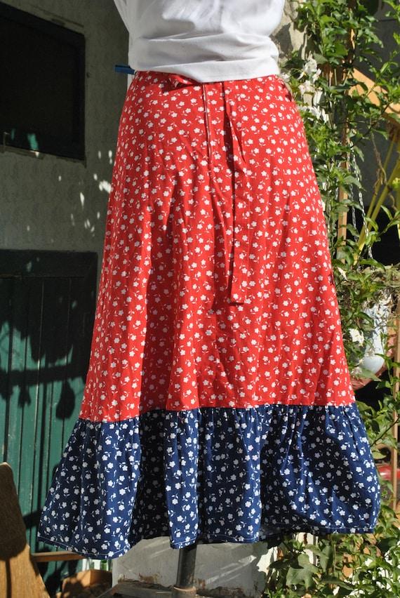 Cottagecore skirt, vintage 70s praerie cotton ski… - image 8