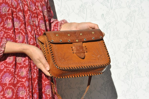 Tooled crossbody bag, 70s boho leather purse