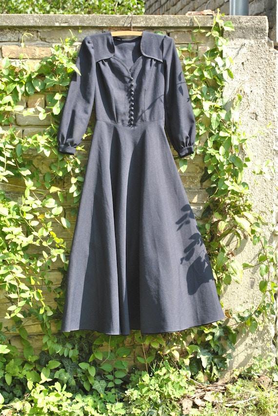 40s dress, 1940s dress, 40s  long sleeve dress