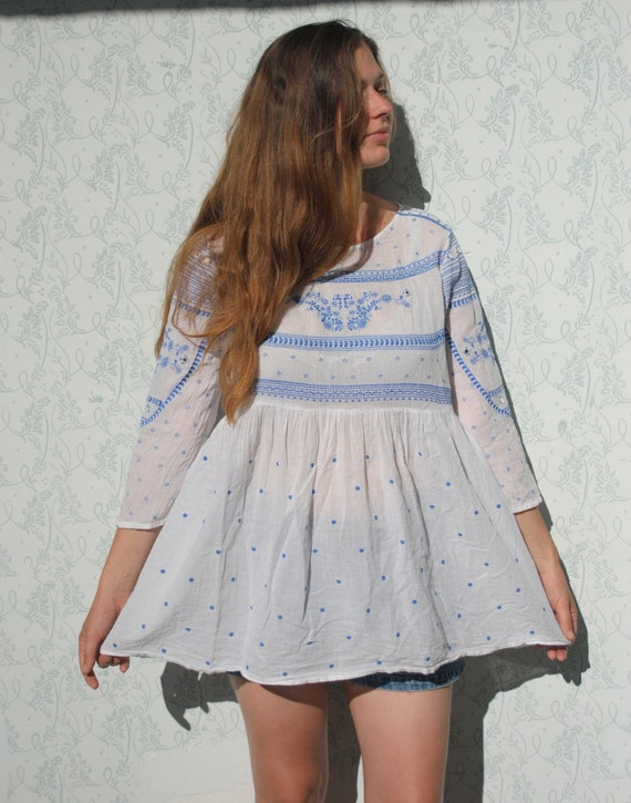 Embroidered blouse, Indian boho blouse, summer gau