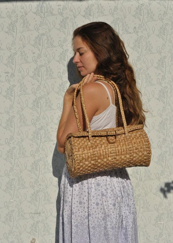 Straw bag, basket bag, straw purse, handmade straw