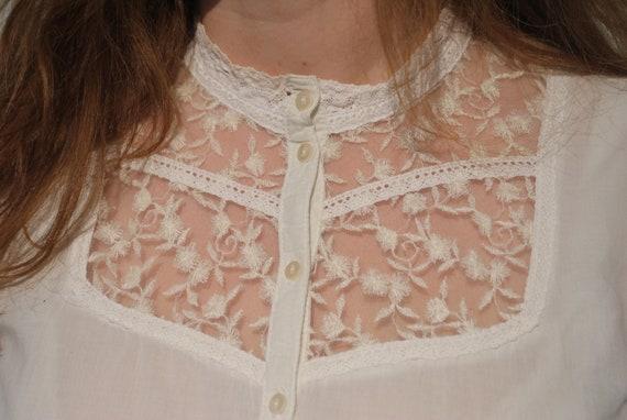 Vintage white lace blouse, long sleeve lace blouse - image 2