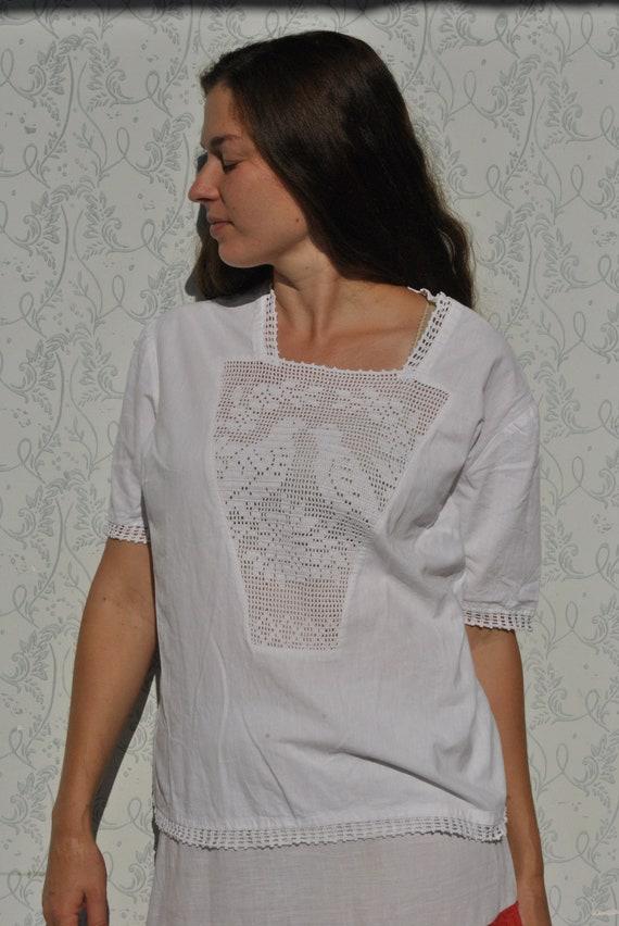 Crochet blouse, handmade blouse, vinatge crochet … - image 1