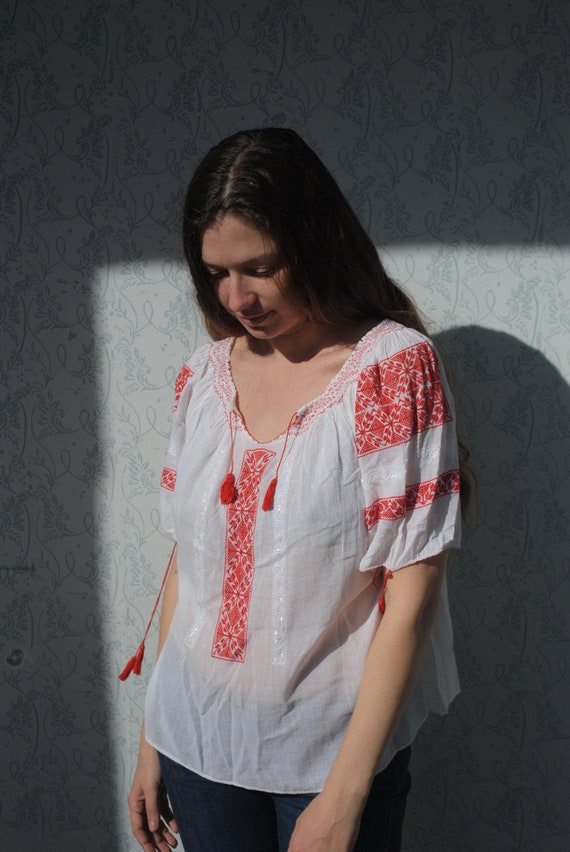 Peasant blouse, boho blouse, embroidered blouse, s