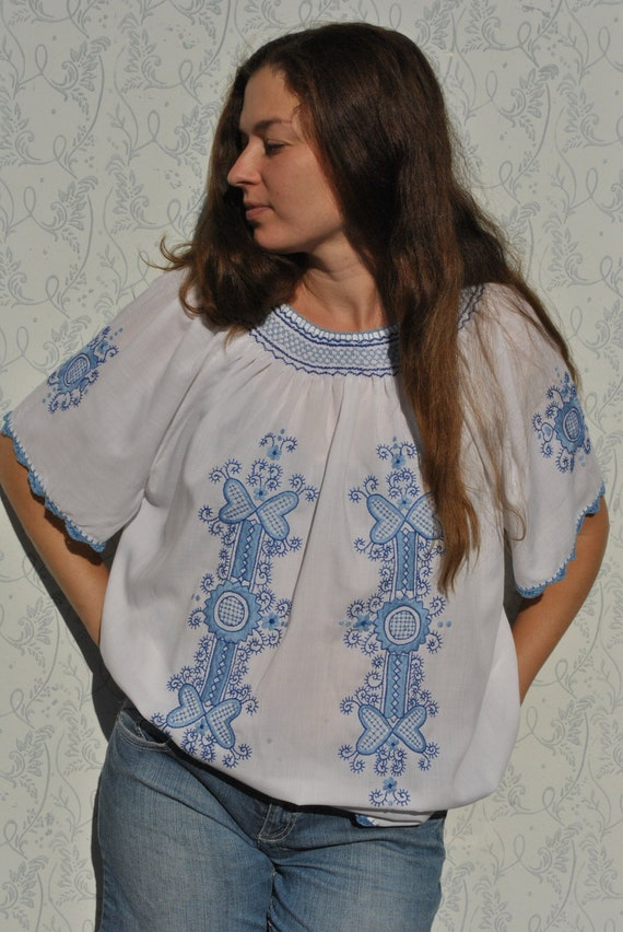 Embroidered Hungarian blouse, peasant blouse