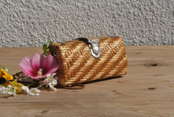 Small wicker purse, small wicker bag, vintage wick