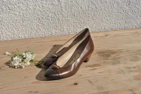 Vintage Ferragamo pumps, 80s pumps, brown leather… - image 7