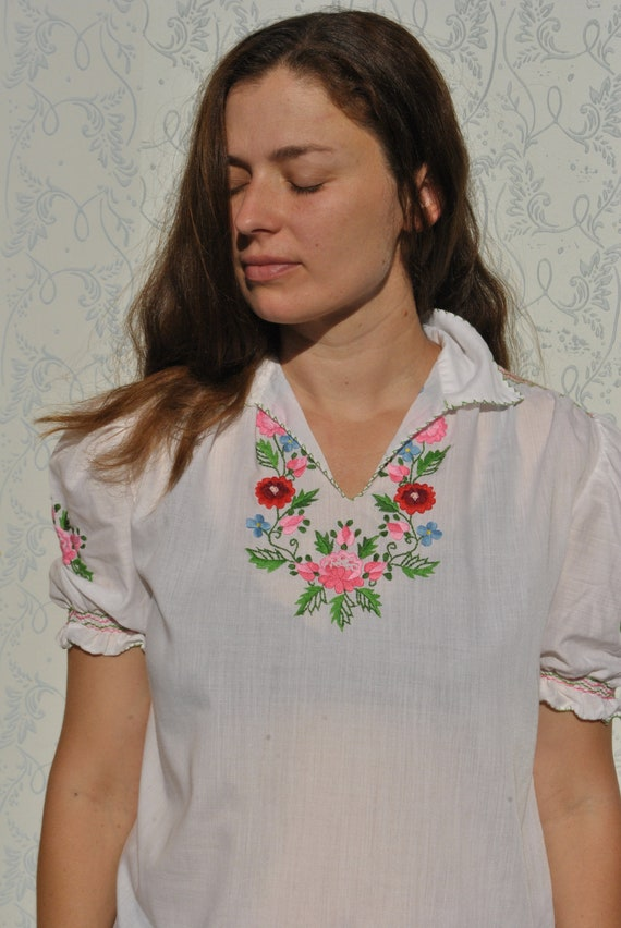 Hungarian blouse, embroidered peasant blouse, smoc
