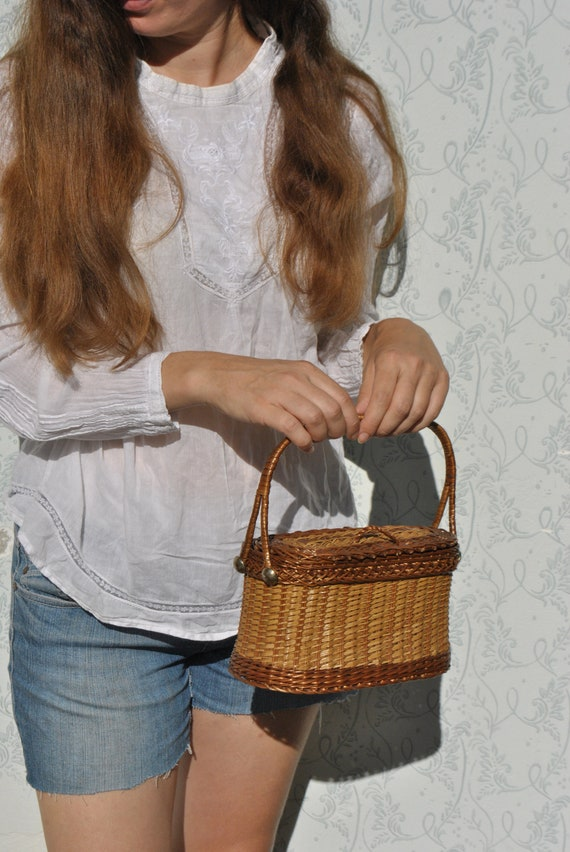 Wicker pruse, small wicker bag, basket bag, wicker