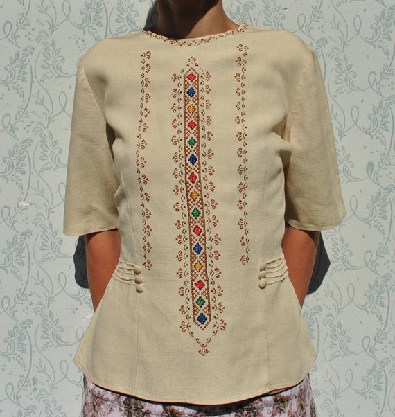 Embroidered shirt, peasant blouse, handmade blouse