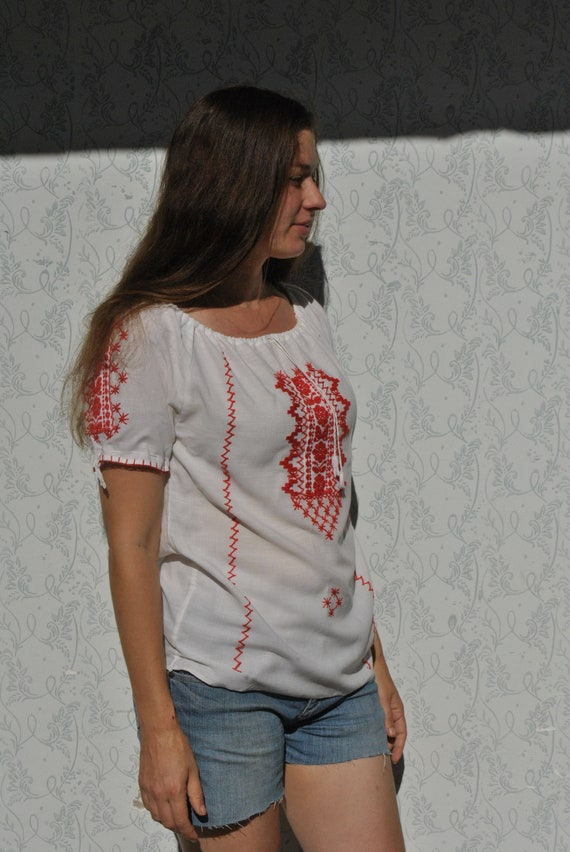 Embroidered boho peasant blouse, red embroidered t