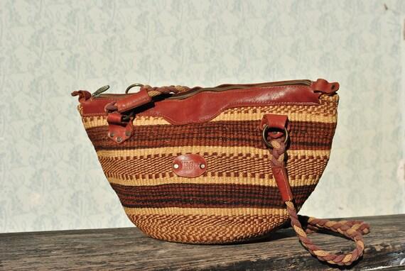 Striped bag, summer bag, woven bag, basket bag, bo