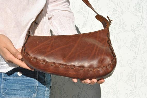 Baguette bag, leather assymetrical bag, crossbody