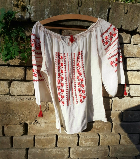 Vintage embroidered gauze blouse, peasant blouse