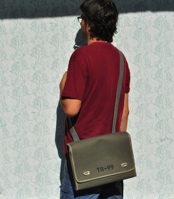 Canvas messenger bag, army crossbody bag men, gree