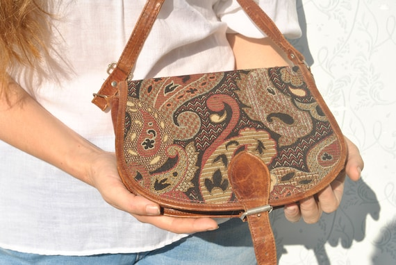 Vintage tapestry bag, tapestry purse for women