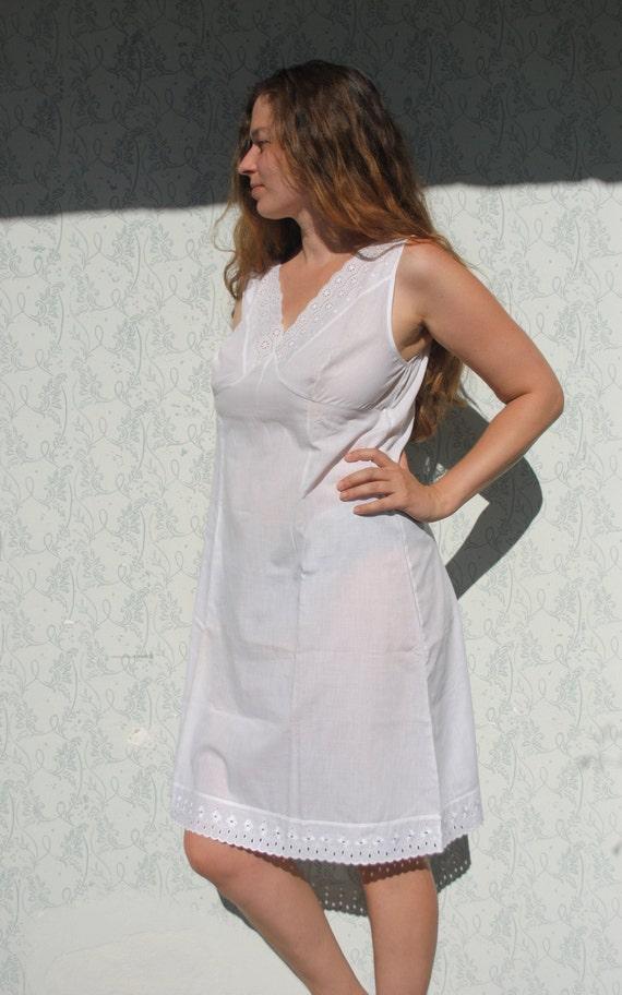Slip, slip dress, womens white slip, vintage cotto