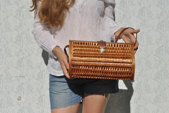 Wicker bag, wicker purse, large wicker handbag