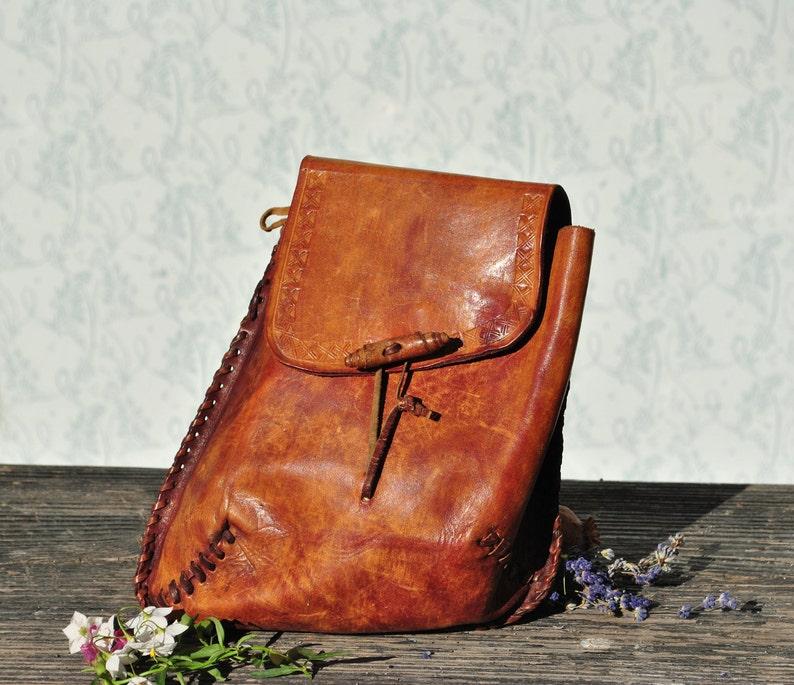 Leather crossbody boho bag hippie bag cross body bag