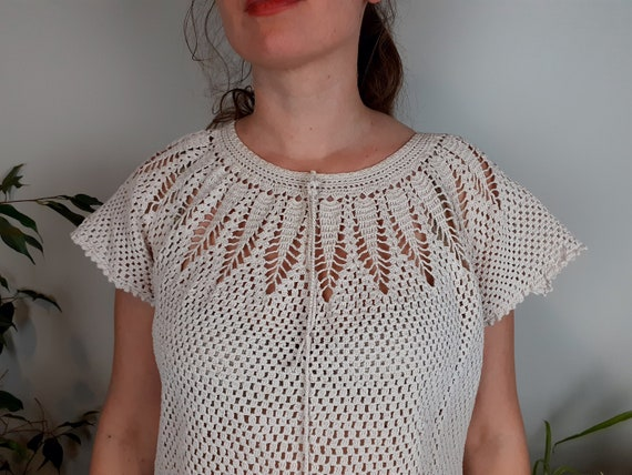 Vintage crochet knit top, crochet top women