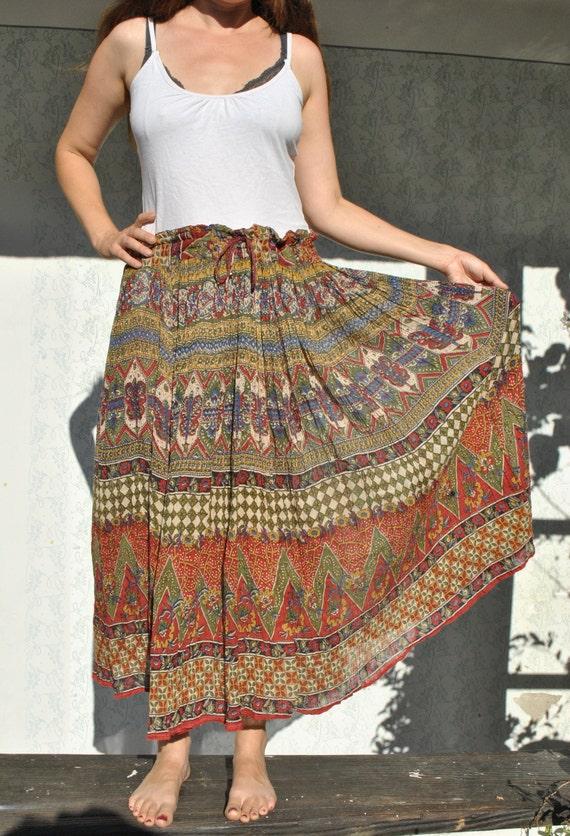Indian Skirt for Women, Boho Maxi Skirt, Hippie Gy