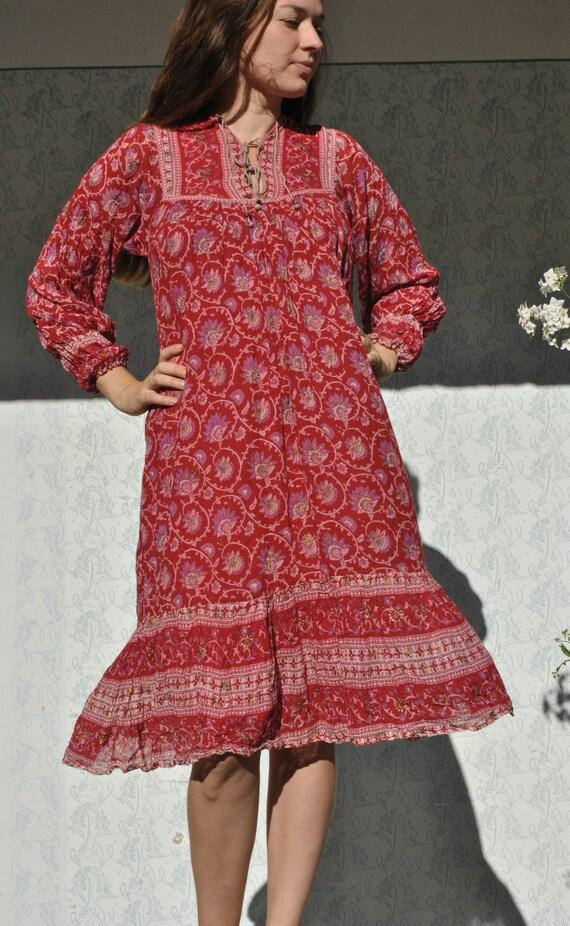 Vintage Indian dress, boho dress for women, red pu