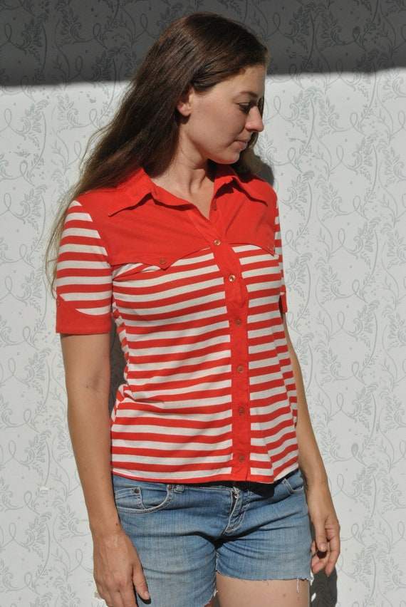 Vintage striped t shirt, large collar t shirt, t s