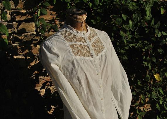 Vintage white lace blouse, long sleeve lace blouse - image 5