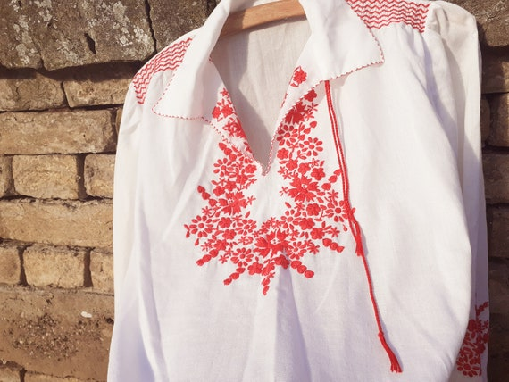 Hungarian blouse, embroidered long sleeves smocked