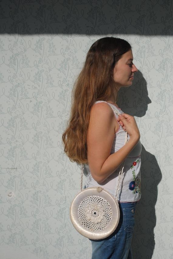 Crochet bag, crochet purse, crochet round purse, r