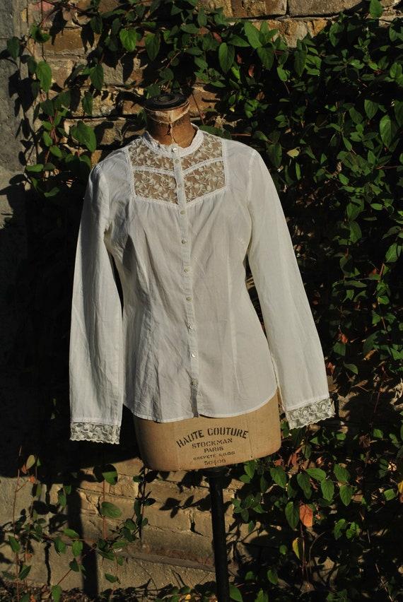 Vintage white lace blouse, long sleeve lace blouse - image 4