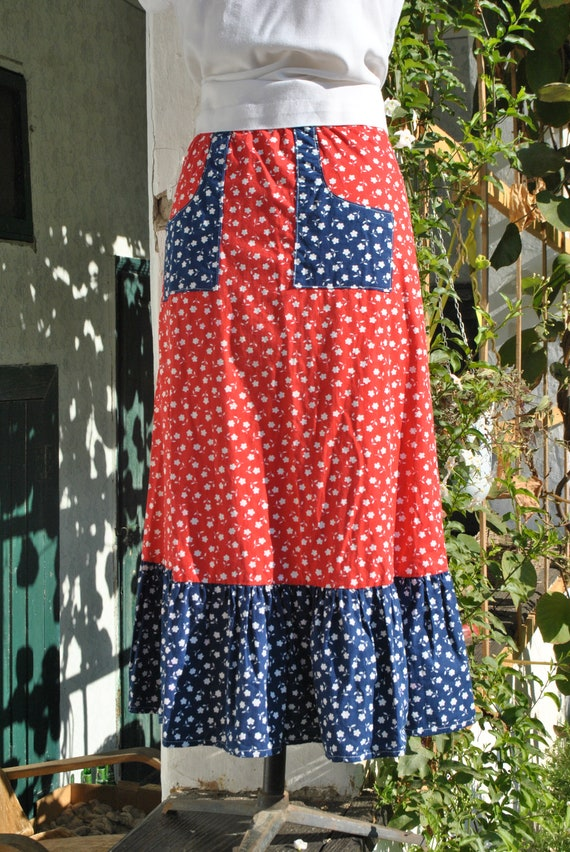 Cottagecore skirt, vintage 70s praerie cotton ski… - image 10