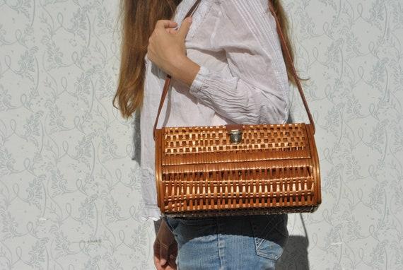 Wicker bag, wicker purse, large wicker handbag - image 3