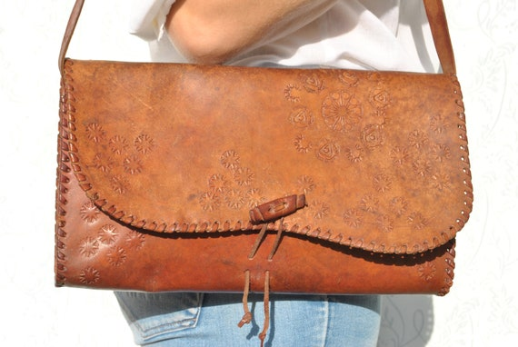 Leather shoulder bag, tooled bag, tooled leather b