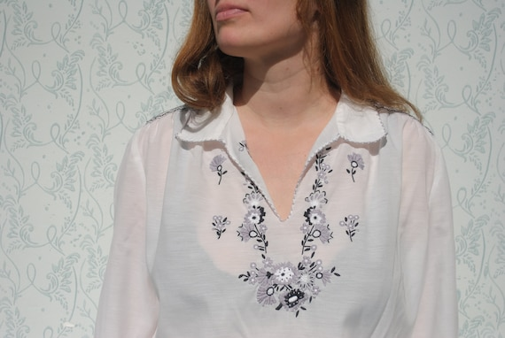 Embroidered blouse, boho embroidered top, smocked