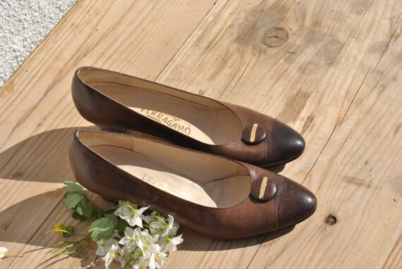 Vintage Ferragamo pumps, 80s pumps, brown leather… - image 6