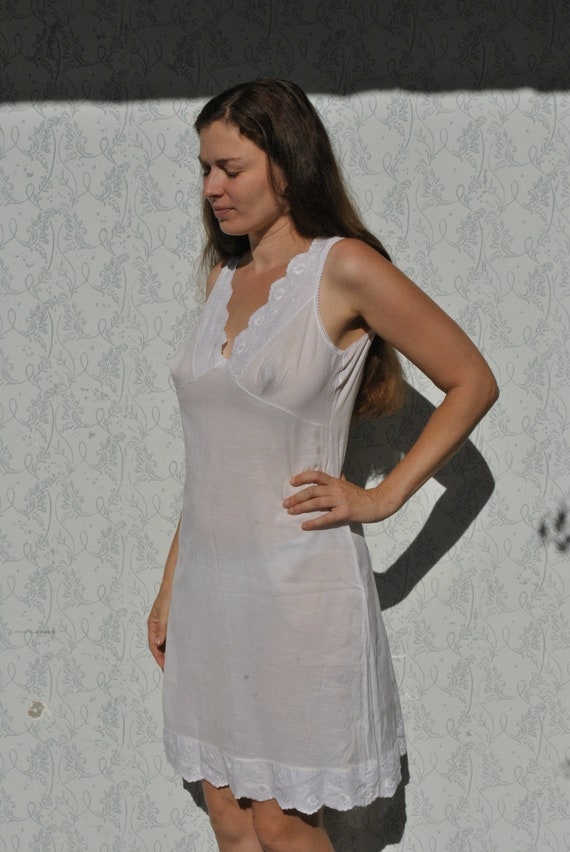 Vintage cotton slip dress, white floral cotton sli