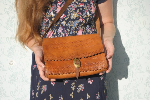 Tooled leather shoulder bag, 70s leather purse
