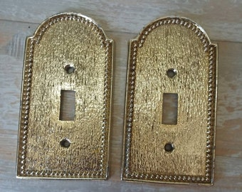 Vintage Regency Decorative Brass Switch Plate Cover Mid Century Metal